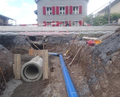 Schmutzwasserleitung mit Centub Brohren